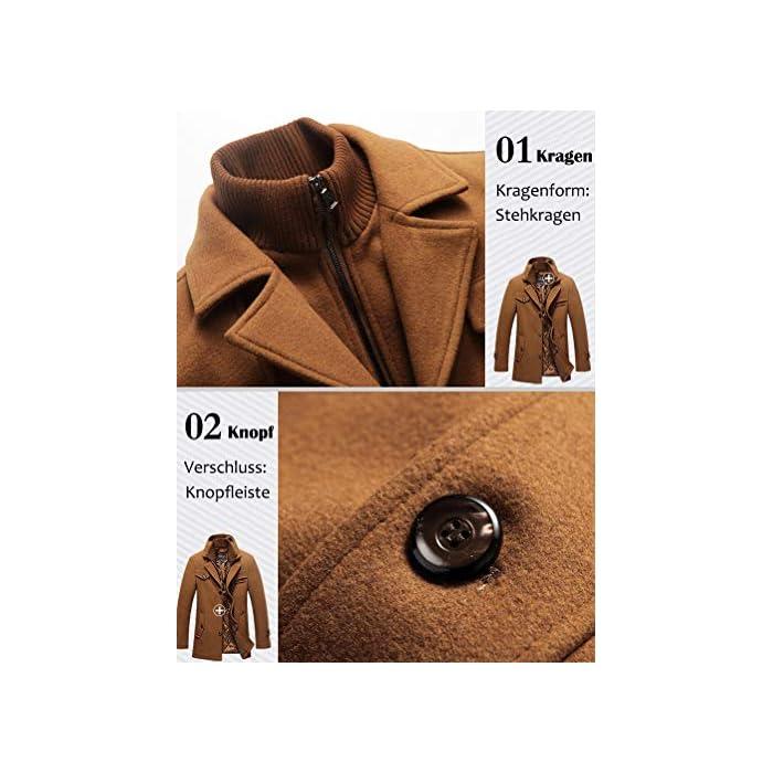 51bOhaShBFL Abrigo de invierno clásico para hombre con cuello alto y varios bolsillos. Chaqueta de manga larga con cierre de botón, diseño sencillo y elegante. 50% Lana, 50% Poliéster