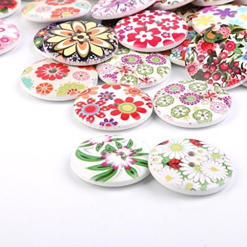 Hellery ボタン 25MM 縫製ボタン 飾りボタン ウッドボタン スクラップブッキング DIY 工芸品 約200個