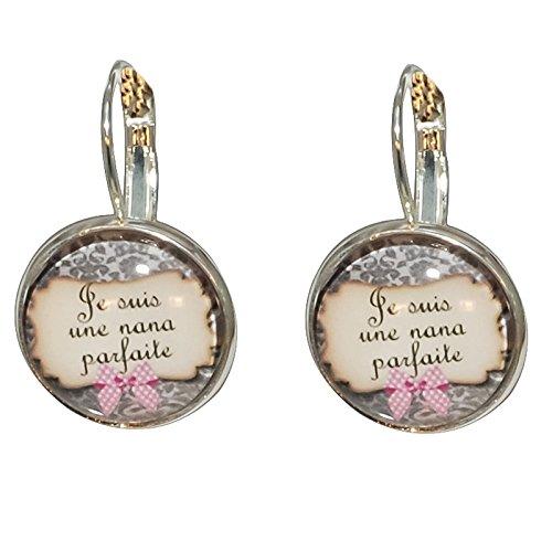 Créative Perles - Boucles d'oreilles Cabochon rond Je suis une nana parfaite - Gris