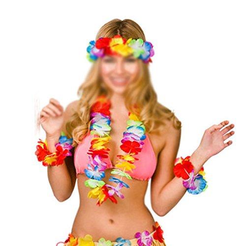 Wedding Head Dress - 4pcs Lot Hawaiian Artificial Flowers Leis Garland Necklace Dress Party Hawaii Beach Have Fun Diy - Artificial Hole Necklace Headband Necklaces Bulk Flower Pink Punch -
