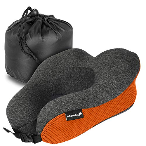 Fosmon Travel Pillow, Soft and Comfortable Memory Foam Travel Neck Pillow, Head & Chin Support Neck Cushion, Machine Washable 100% Cotton Cover for Traveling Flying Airplane Flight Car Bus Train Ride