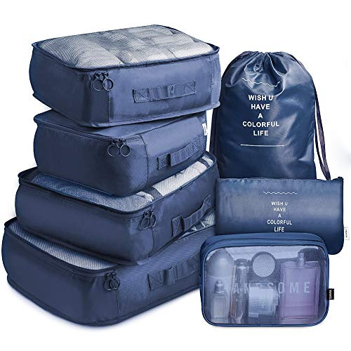 VAGREEZ Packing Cubes 7 Set Lightweight Travel Luggage Organizers with Laundry Bag or Toiletry Bag (Navy) (Best Travel Organizer Bag)
