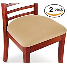 Kleeger Chair Covers Protective & Stretchable: Fits Round And Square Chairs. For Kids, Pets, Set Of 2 (Tan Beige)