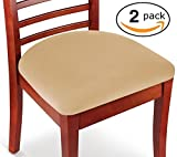 #3: Kleeger Chair Covers Protective & Stretchable: Fits Round And Square Chairs. For Kids, Pets, Set Of 2 (Tan Beige)