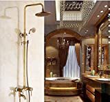 GOWE Luxury Antique Brass 8'' Round Rain Shower Head Swivel Spout Tub Mixer Tap Shower