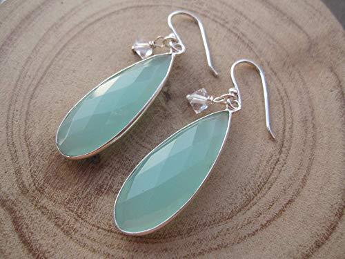 Aqua Blue Chalcedony, Herkimer Diamond Quartz 925 Sterling Silver Earrings,Drop Length 4.2 cm,EAQCH