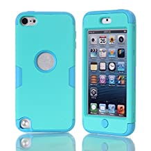 iPod Touch 5 Case,iPod Touch 6 Case, NOKEA Layered 3in 1 Hard PC Case Silicone Shockproof Heavy Duty High Impact Armor Hard Case for Apple iPod Touch 6 5th Generation (Mint Blue)