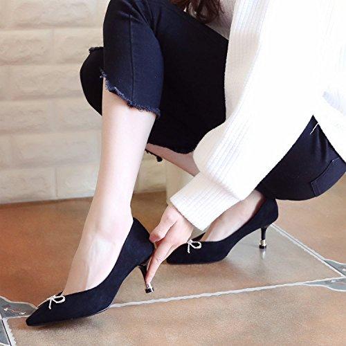 Xue Xue Xue Qiqi Pumps Sandalen Schuhe Damenschuhe Elegante Fliege Schuhe mit Hohen Absätzen Fein mit der Spitze des Licht der Einzigen Schuhe Frauen 888cfb