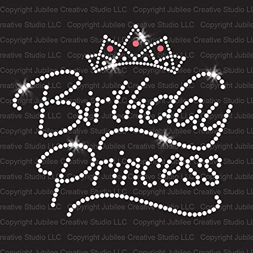 Birthday Princess Iron On Rhinestone Crystals and Rhinestuds T-shirt Transfer by JCS Rhinestones