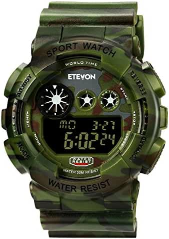 Boys Camouflage LED Sport Watch, Waterproof Digital Electronic Casual Military Wrist Kids Sports Watch With Silicone Band Luminous Alarm Stopwatch Watches