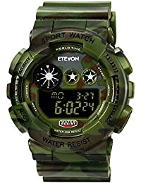 Boys' Big Face Camouflage LED Sport Watch - Waterproof...