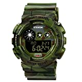 ETEVON Boys' Big Face Camouflage LED Sport Watch - Waterproof Digital Electronic Casual Military Wrist Kids Sports Watch with Silicone Band Luminous Alarm Stopwatch Watches for Children Teenagers