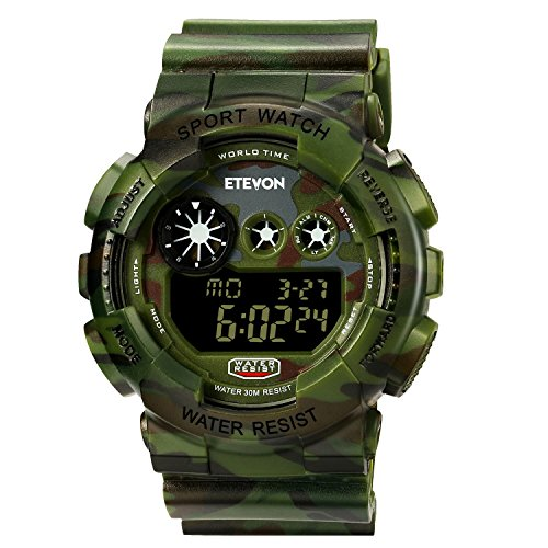 Boys Big Face Camouflage LED Sport Watch, Waterproof Digital Electronic Casual Military Wrist Kids Sports Watch With Silicone Band Luminous Alarm Stopwatch Watches for Teen