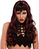 Fashion Lady Black+Red Cosplay Party Wigs Women Full Long Curly Wavy Hair Wig
