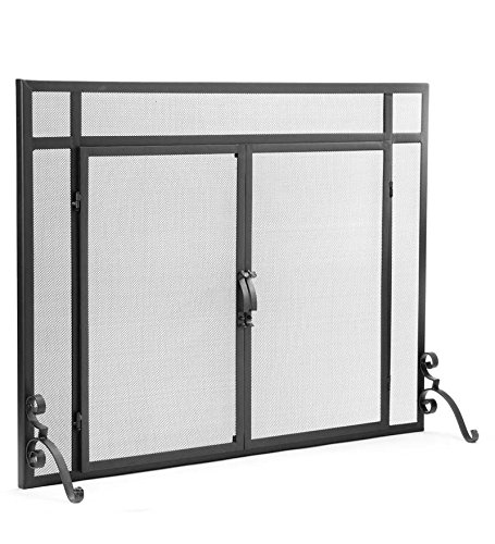 Large Flat Guard Fireplace Screen with Doors, Handcrafted Solid Steel, Heavy Duty Metal Mesh, Adjustable Feet, Powder Coat Finish, Free Standing Spark Guard 44 W x 33 H, (Flat Fireplace Guard)