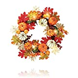 Custom & Unique (17'' Inches) 1 Single Mid-Size Decorative Holiday Wreath for Door w/ Autumn Falling Leaves Pumpkin Gourds Fall Thanksgiving Harvest Halloween Festive Style (Red, White, & Orange)
