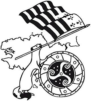 Beige L 40cm x H 44cm TATOUTEX Stickers Hermine et Drapeau Breton
