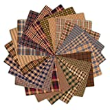 40 Cozy Plaid Charm Pack, Precut Cotton Homespun