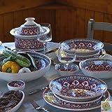 Service à couscous assiettes creuses et jatte Bakir rouge - 6 pers