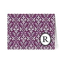 Note Card Café Monogram Plum 'R' Letter Cards | Grey Envelopes | 24 Pack | Blank Inside, Glossy Finish | Modern Floral Damask Design |Bulk Set | Stationery, Personalized Greeting, Thank You