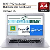 "Acer Chromebook 315 15.6"" Touchscreen Laptop Computer, for Business or Education,AMD A4-9120C, 4GB RAM, 64GB eMMC, Online Class Reaady, Up to 10HRS Battery, Chrome OS, 32GB SD Card+ iPuzzle Mousepad"