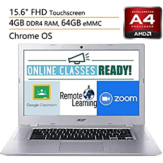 """Acer Chromebook 315 15.6"""" Touchscreen Laptop Computer, for Business or Education,AMD A4-9120C, 4GB RAM, 64GB eMMC, Online Class Reaady, Up to 10HRS Battery, Chrome OS, 32GB SD Card+ iPuzzle Mousepad"""