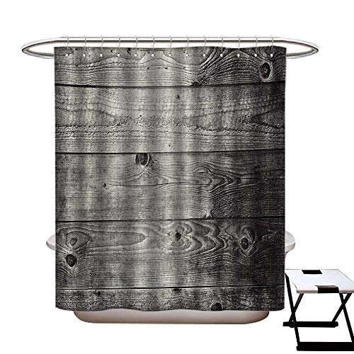 Dark Grey Shower Curtains Sets Bathroom Ombre Style Grunge Wooden Planks Rustic Timber Oak Wall Rough Texture Image Satin Fabric Sets Bathroom W69 x L70 Black Pale Grey