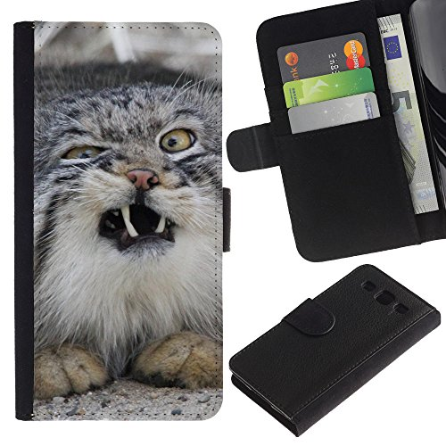 EuroCase - Samsung Galaxy S3 III I9300 - Norwegian forest cat wild sneeze - Cuero PU Delgado caso cubierta Shell Armor Funda Case Cover
