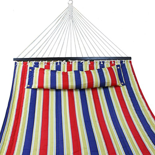ZENY New Portable Cotton Hammock Quilted Fabric with Pillow Double Size Spreader Bar Heavy Duty Outdoor Camping w/Detachable Pillow, Suitable for 12FT Hammock Stand (red/Blue/gree Stripe)