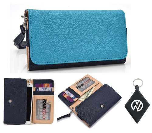 HTC DROID Incredible 2 Wallet Wristlet Clutch with Coin Money Zipper Pocket and Three ID Credit Card Compartments. Includes one Detachable Wrist Strap. Color: Baby Blue / Dark Blue + NuVur ™ Keychain (ESMLMTBB)