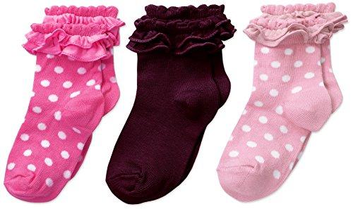 Country Kids Pima - Calcetines de bebé para niña (3 unidades), Rosado/chicle/mora, Calcetín 1-2 Años