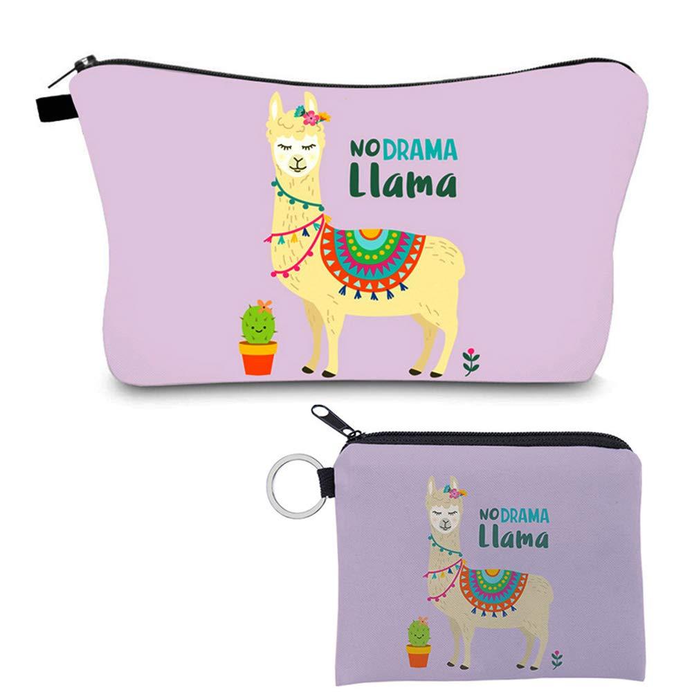 Llama Makeup Bag for Women Adorable Roomy Alpaca Cosmetic Bag Travel Waterproof Purple Toiletry Bag Accessories Organizer Llama Gifts,Set of 2