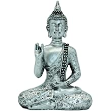 "7.09""(H)Thai Buddha Meditating Peace Harmony Statue Silver Resin Home Decor Buddha BS111"