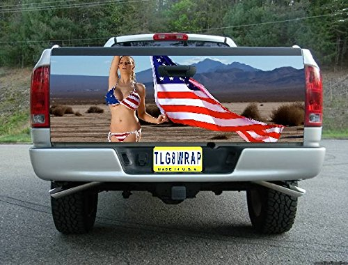 Avery T93 AMERICAN FLAG MODEL USA TAILGATE WRAP Vinyl Graphic Decal Sticker F150 F250 F350 Ram Silverado Sierra Tundra Ranger Frontier Titan Tacoma 1500 2500 3500 Bed Cover tint image