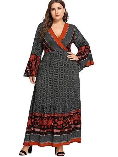 (Milumia Women Plus Size Flare Long Sleeves Wrap V Neck Maxi Dress Party Homecoming Tribal)