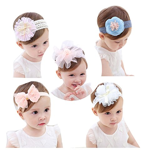 Cute Headband Accessories, 5Pcs Lovely Baby Girls Flower Headbands Photography Props by Wemi