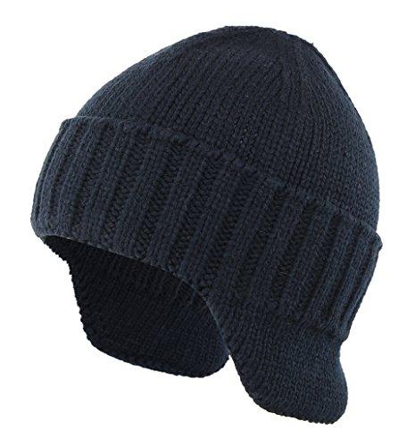 Home Prefer Mens Winter Knit Earflap Hat Cuffed Beanie with Ears Warmer Navy Blue - Knit Earflap Beanie