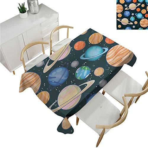 familytaste Galaxy,Vintage tablecloths,Cute Galaxy Space Art Solar System Planets Mars Mercury Uranus Jupiter Venus Kids Print,Waterproof Table Cover for Kitchen 70