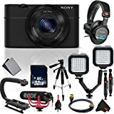 Sony Cyber-Shot DSC-RX100 Digital Camera (Black) Vlogging Kit with Rode Mic, Sony Studio Headphones International Model