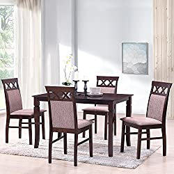 Merax Harper&Bright Designs 5 Piece Dining Set Rubber Wood Dining Table with 4 Upholstered Chairs