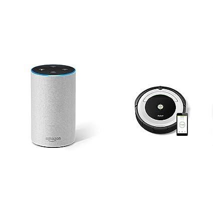 Echo gris claro + iRobot Roomba 691- Robot aspirador para suelos duros y alfombras, con tecnología ...