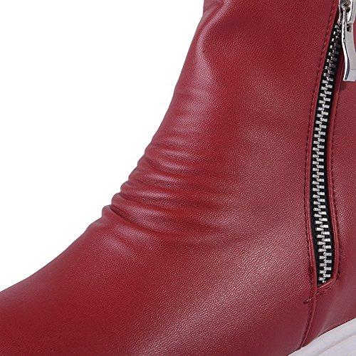 AllhqFashion Mujeres Caña Media Sólido Cremallera Plataforma Botas con Hebilla Rojo