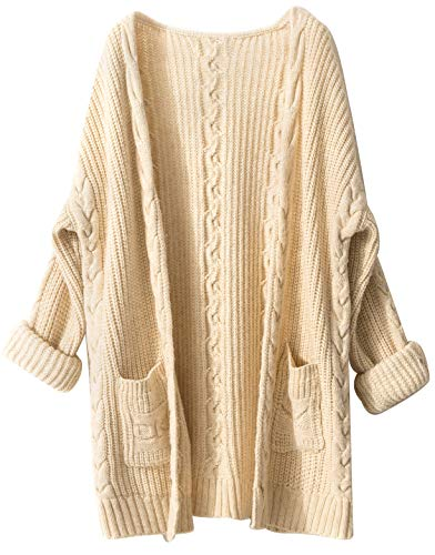 (Liny Xin Women's Cashmere Loose Casual Long Sleeve Open Front Oversized Cardigan Sweater Wool Coat Sherpa Jacket with Pockets (XL, Beige))
