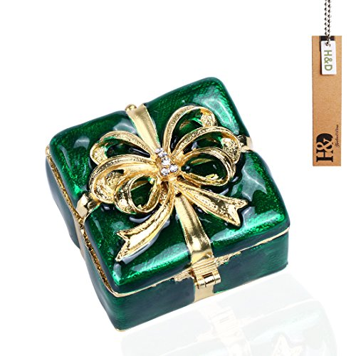 Christmas Golden Bow Trinket Box Hinged Jewelled Ornament For Holiday Gift, Square Handmade Trinket Ring Box Decorated with Crystal