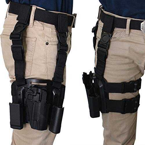 LTY Adjustable Tactical Airsoft Pistol Drop Leg Holster Bag Thigh Right Leg Holster with Magazine Torch Pouch for Colt 1911 M1911 (Black) (M1911 Holster Colt)