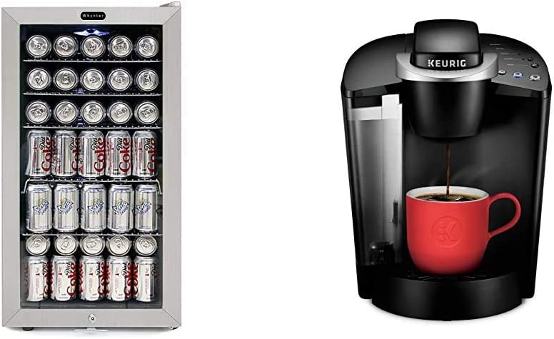 Whynter BR-128WS Beverage Refrigerator With Lock, 120 12oz Cans, Stainless Steel & White & Keurig K-Classic Coffee Maker, Single Serve K-Cup Pod Coffee Brewer, 6 to 10 Oz. Brew Sizes, Black