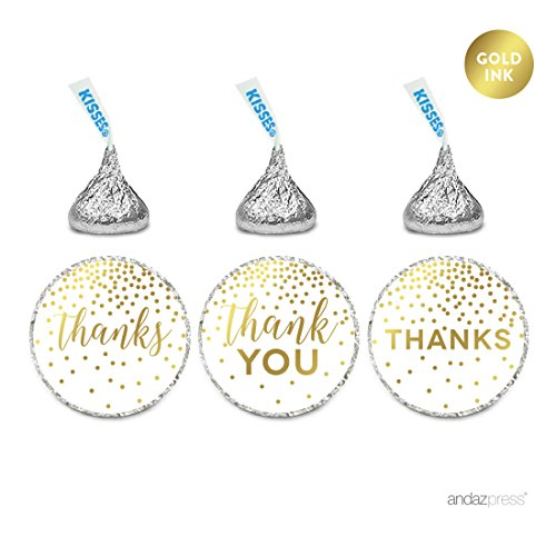 Andaz Press Metallic Gold Confetti Polka Dots Party Collection, Chocolate Drop Labels Stickers, Fits Hershey's Kisses, Thank You, 216-Pack ()