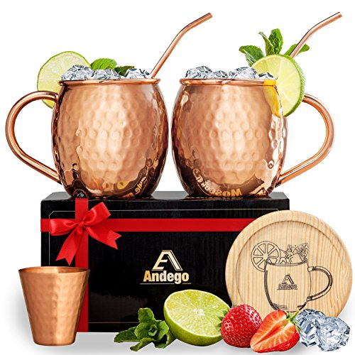 FOOD SAFE 100% Original Moscow Mule Copper Mugs Set of 2, Copper Moscow Mule Mugs, Make Yourself a Healthy Drink, Starting Now!