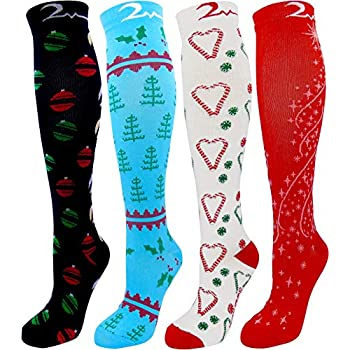 Christmas 4 Pair Large/X-Large Extra Soft Premium Quality Colorful Moderate Graduated Compression Socks for Nurses, Running, Travel, Knee-High, ...