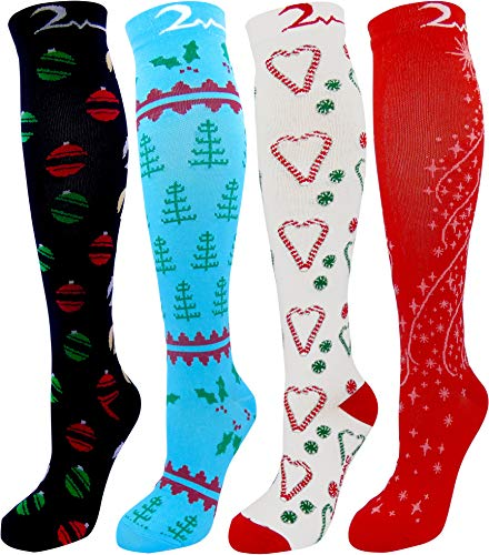 Christmas 4 Pair Large/X-Large Extra Soft Premium Quality Colorful Moderate Graduated Compression Socks for Nurses, Running, Travel, Knee-High, Mens & Womens Comfort Blend. Holiday Cheer Collection